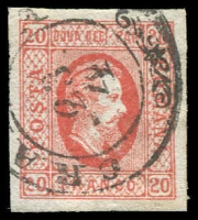 Lot 4295:1865 Prince Cuza Wove Paper SG #47 20p scarlet type A, 4 good margins, Cat £50.
