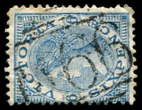 Lot 2545:1066: 'M66' on 6d blue Laureate. [Rating R]  Allocated to Williamstown North-PO 1/4/1878; closed 1/12/1980.