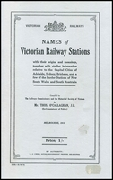 Lot 2136:'Names of Victorian Railway Stations' by Thos O'Callaghan, 2003 reprint of original 1918 publication, 100pp softback. Provides origins and meanings of names.  Renamed from Upper Tambo PO 18/7/1889; closed 30/9/1963.