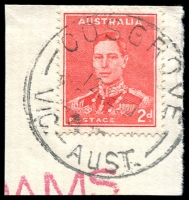 Lot 2865:Cosgrove: - WWW #30A 'COSGROVE/12DE40/VIC.-AUST.' on 2d red KGVI on piece. [Rated R]  PO 5/12/1888; closed 28/9/1979.