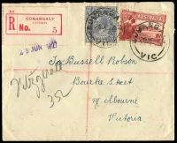 Lot 2886 [1 of 2]:Couangalt (2): - WWW #10 'COUANGALT/28JE27/VIC' on 3d blue KGV & 1½d Canberra on cover with red 'CONANGALT' (sic) registration label.  RO 15/9/1913; PO c.1924; PO c.-/1/1924; closed 4/6/1965.