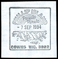 Lot 2909:Cowes: - WWW #120B pictorial rectangle 'PHILLIP ISLAND/PENGUIN/PARADE/7SEP1994/[penguins]/COWES VIC. 3922' (9DL 2½mm high) on piece.  PO 1/8/1869.