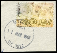 Lot 2931:Cowes: - WWW #530 30mm 'MO COWES/No. 1/11MAR1998/VIC. 3922' on 45c on piece.