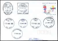 Lot 2944:Cowes: - WWW #815B 'POSTAL MANAGER/19MAR2002/COWES VIC 3922' (9DL) on unaddressed PPE, also with A1 cancels of Conservation Centre, Penguin Parade, MO, NR2, NR3 & No.4.  PO 1/8/1869.