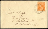 Lot 2953:Cowwarr: - WWW #20 'COWWAR/28MR21/VIC', (error; one 'R') on 2d orange KGV (Cut in right end of bottom frame unplated [B9]) on cover (small pinholes)  Renamed from Upper Heyfield PO 22/8/1870; LPO 5/10/1993.