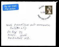 Lot 24276:1997: inwards air cover from GB with stamp uncancelled until arrival where 'ALOFI-NIUE/FIRST DAY OF ISSUE' cds applied!