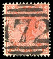 Lot 10505:172: 2nd Type (no sidebars) on 'POSTAGE' 1d.  Allocated to Baringhup-PO 12/2/1858; closed 31/12/1974.