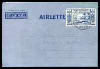 Lot 26223:1950 philatelic use to USA of Australian Territories formular Airletter, 30c with Vila cds of 9DEC50.