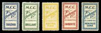 Lot 10:Greece: Cigarette Labels inscribed M.C.C./M.C. Carathanassis & Co/20 Cigarettes etc. In different colours & inscriptions. (5)