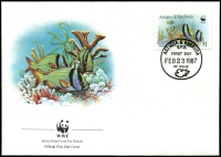 Lot 19746 [3 of 4]:1987 Marine Life SG #1077,1079,1081-2 on WWF FDCS unaddressed. (4)