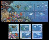 Lot 633:1995 The World Down Under BW #1884-90 45c vertical se-tenant pairs (x3) set plus M/S.