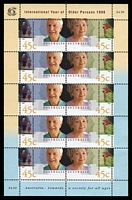 Lot 910:1999 International Year of Older Persons 45c sheetlet of 10.
