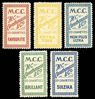 Lot 88:Greece: Cigarette Labels inscribed M.C.C./M.C. Carathanassis & Co/20 Cigarettes etc. In different colours & inscriptions. (5)
