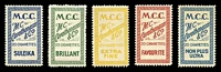 Lot 78:Greece: Cigarette Labels inscribed M.C.C./M.C. Carathanassis & Co/20 Cigarettes etc. In different colours & inscriptions. (5)