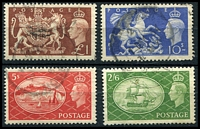 Lot 3682:1951 Festival High Values SG #509-12 2/6d to £1, Cat £25. (4)