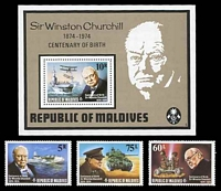 Lot 3881 [1 of 2]:1974 Churchill SG #535-43 set of 8 & M/S, Cat £33.