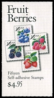 Lot 25992:1999-2000 $4.95 Fruit Berries Sc #BK276A 33c multicolour, combination panes with label, P#B1112, Cat $11.50.